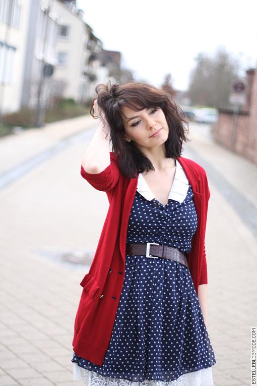 robe retro Rouge et bleue à petits pois