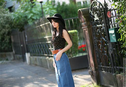 jupe vintage jean Seventies style