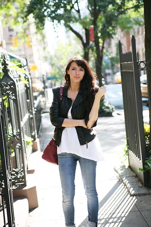 blouson cuir noir New York Streetstyle : autour de Grand Central