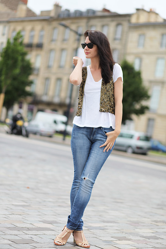 gilet sequin Gold and glitter