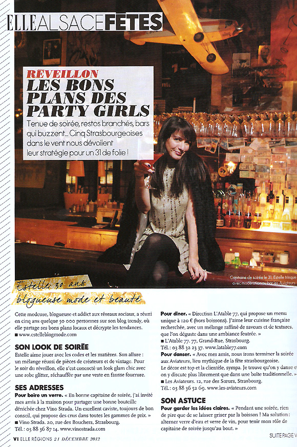 elles alsace fetes Merci au magazine Elle ! Party girls !