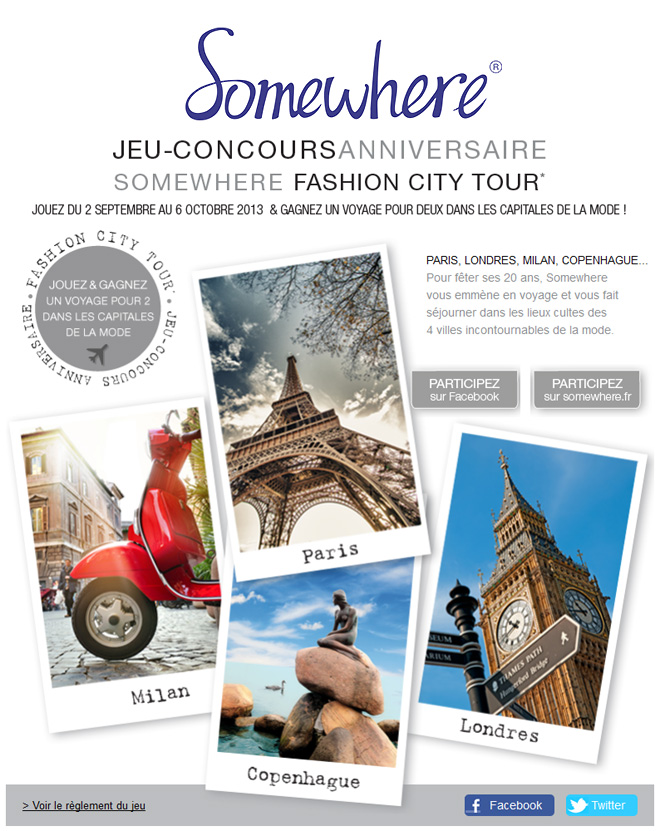 fashion city tour Gagnez un voyage avec le Fashion City Tour / Somewhere