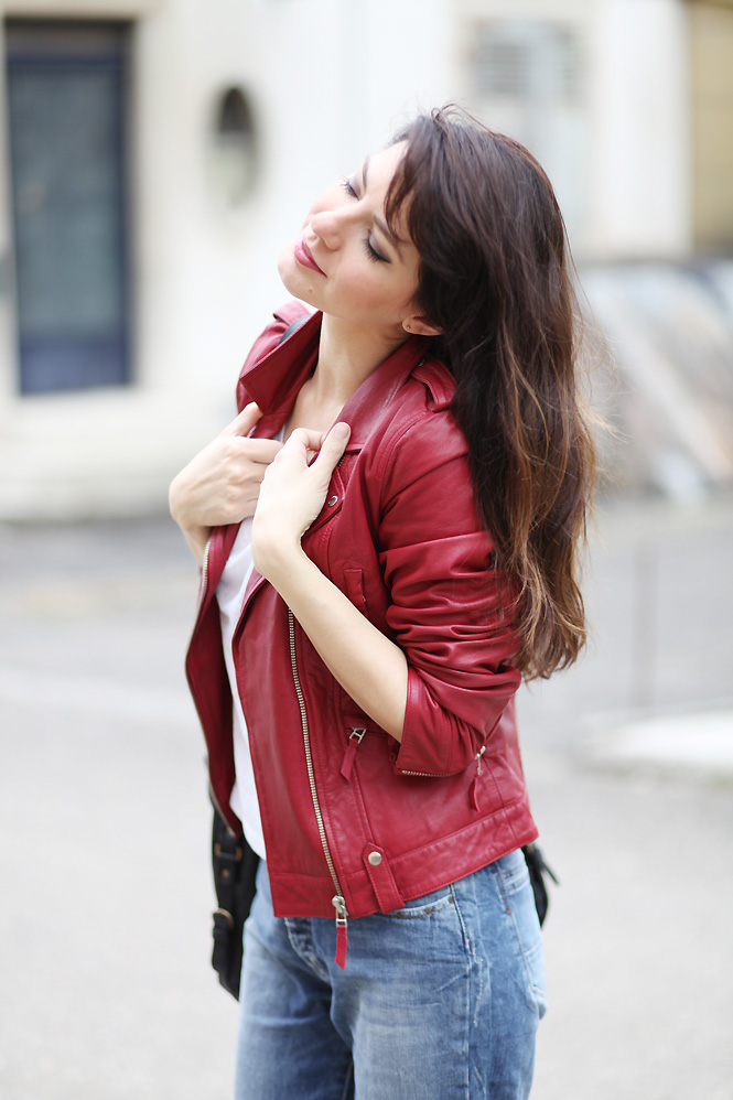 look blouson cuir rouge1 Red leather