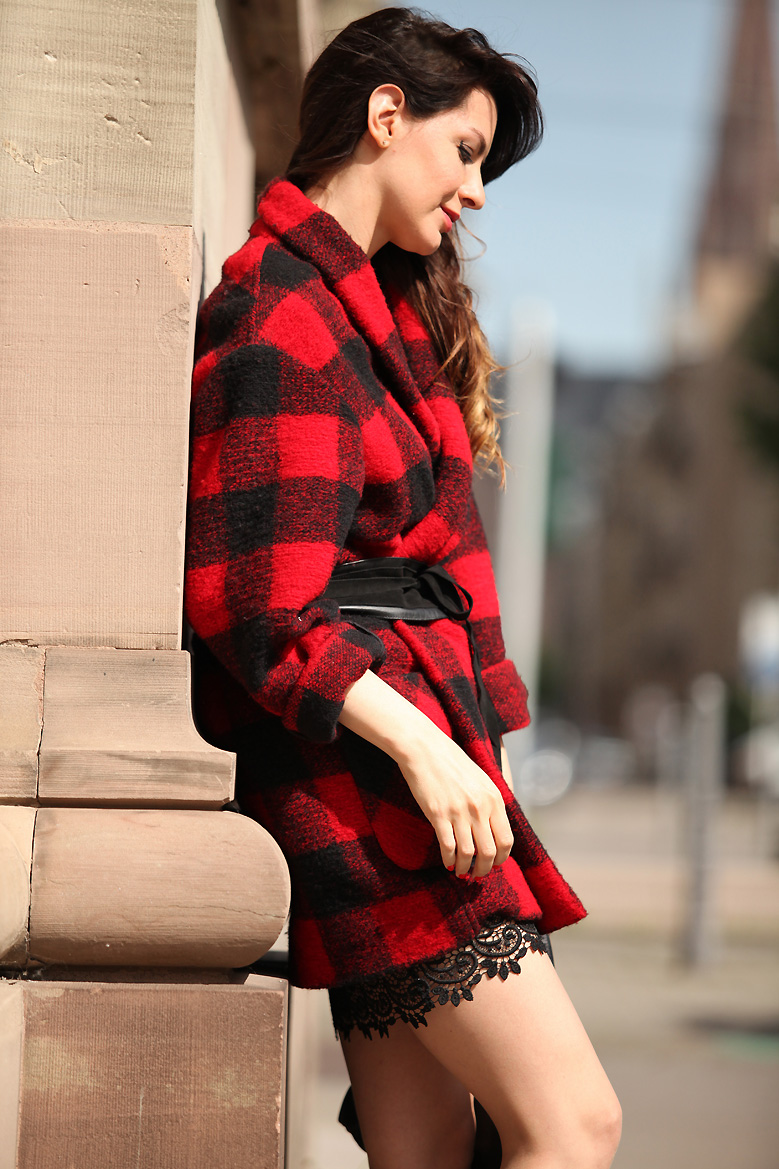 look manteau Red and oversized