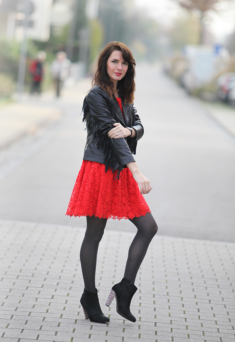 blouson cuir franges Red passion (+ give away)