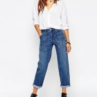 Pantalon cargo en jean style militaire