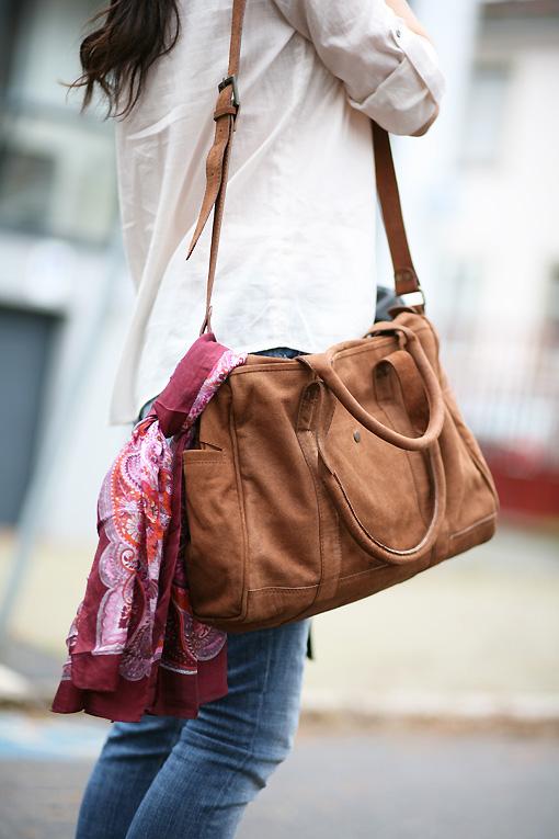 sac bowling femme cuir camel