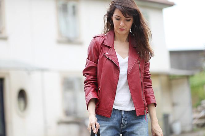 La redoute veste en cuir rouge